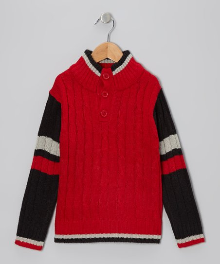 Black & Red Cable-Knit Pullover - Toddler & Boys