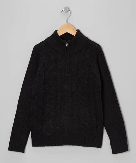 Black Cable-Knit Pullover - Toddler & Boys