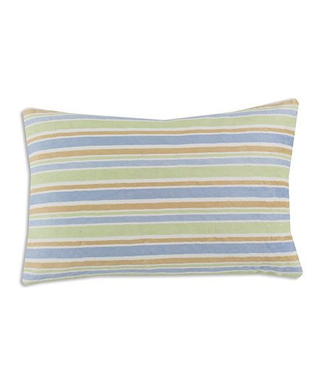 Chooty & Co. Sage & Blue Stripe Bolster Pillow