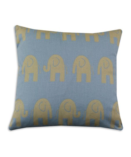 Chooty &amp; Co. Light Blue &amp; Taupe Elephant Pillow
