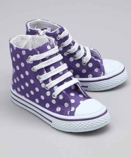Purple Polka Dot Hi-Top Sneaker