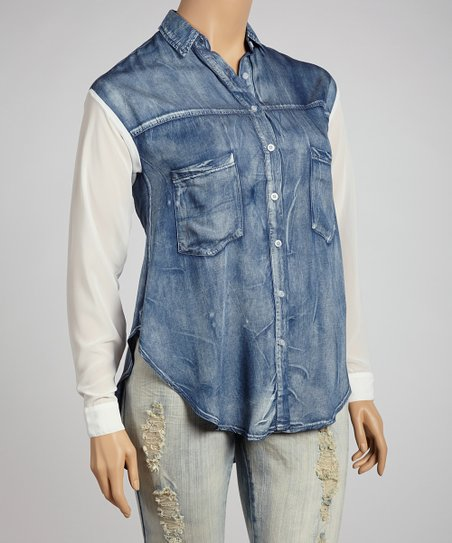 Denim & White Woven Sleeve Button-Up - Plus