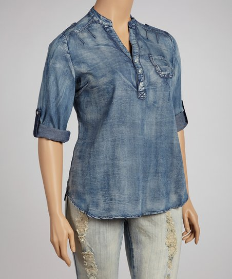 Denim Long-Sleeve Top - Plus