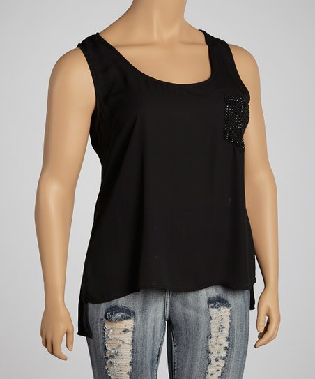 Black Embellished Pocket Hi-Low Tank - Plus