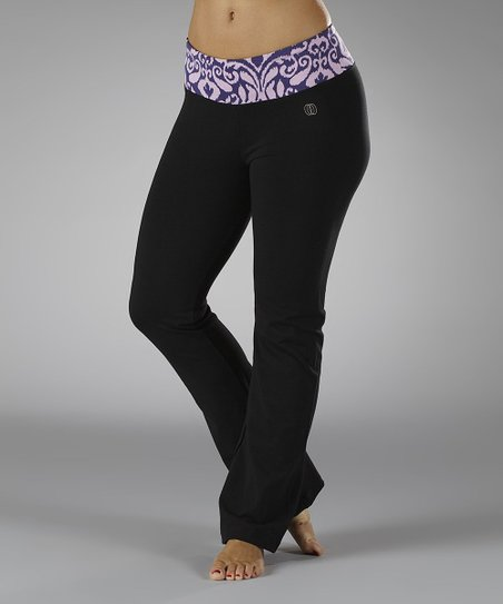 Petunia & Black Budding Beauty Flat-Waist Yoga Pants