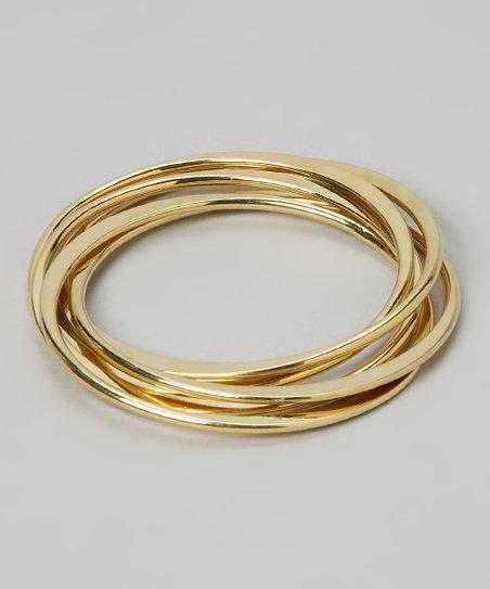Gold Five-Piece Intertwined Bangle Set