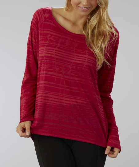 Cerise Keyhole Burnout Top