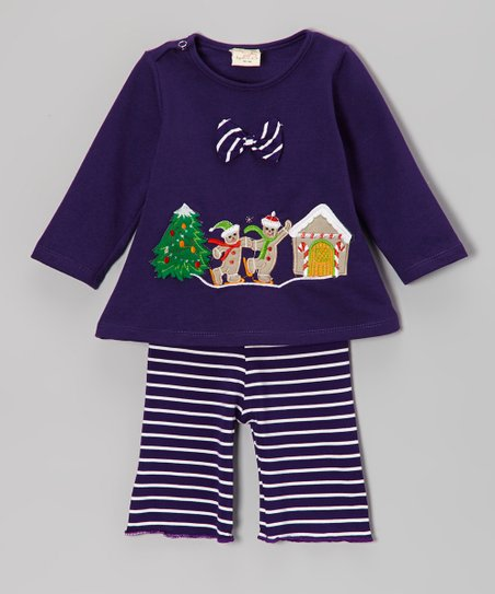 Blue Gingerbread Top & Stripe Pants - Infant & Toddler