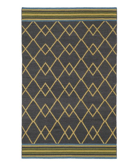 Charcoal Lines Nomad Wool Rug