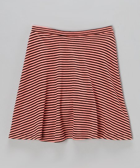Orange & Black Stripe A-Line Skirt - Girls