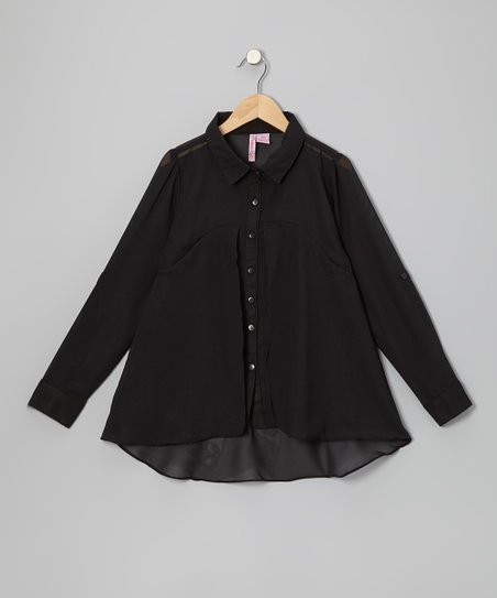 Black Flyaway Button-Up - Girls