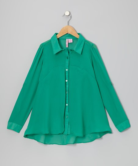 Emerald Flyaway Button-Up - Girls