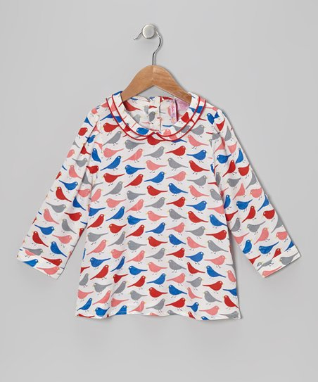 White & Red Bird Collar Top - Girls
