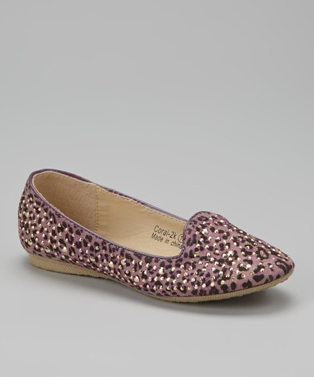 Purple Embellished Coral Loafer