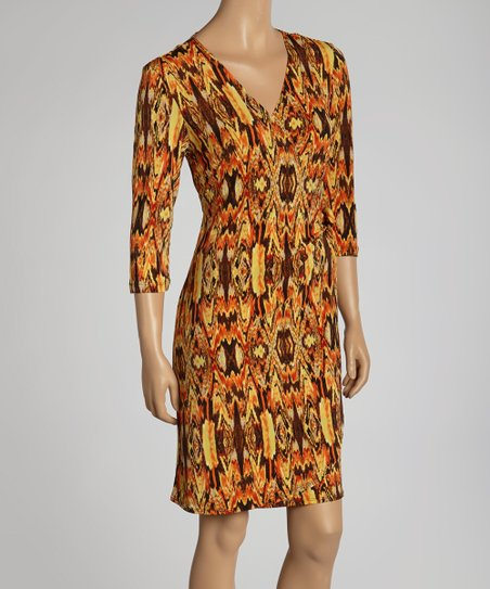 Brown & Orange Kaleidoscope Wrap Dress