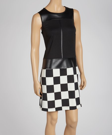 Black & Ivory Checkerboard Drop Waist Dress