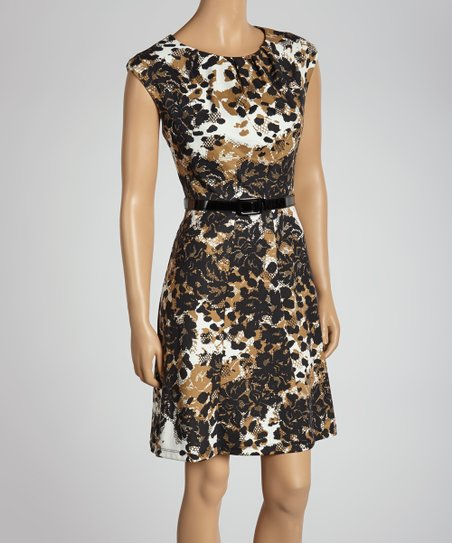 Camel Floral Belted Dress