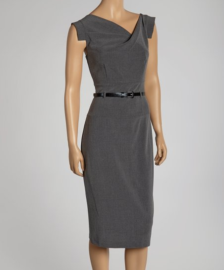 Charcoal Belted Cross Bodice Dress