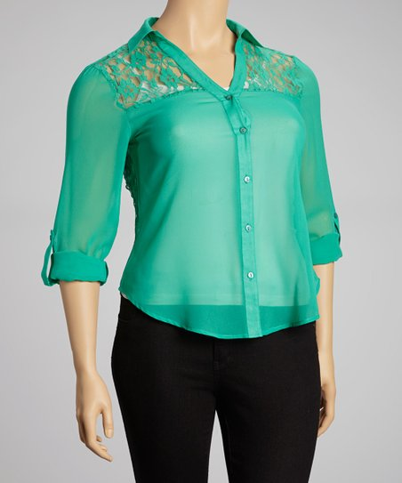 Green Sheer Lace-Back Button-Up - Plus