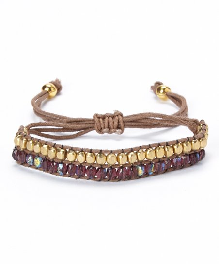 Gold & Purple Iridescent Beaded Cord Bracelet