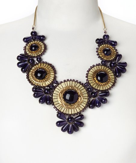Gold & Purple Floral Medallion Bib Necklace