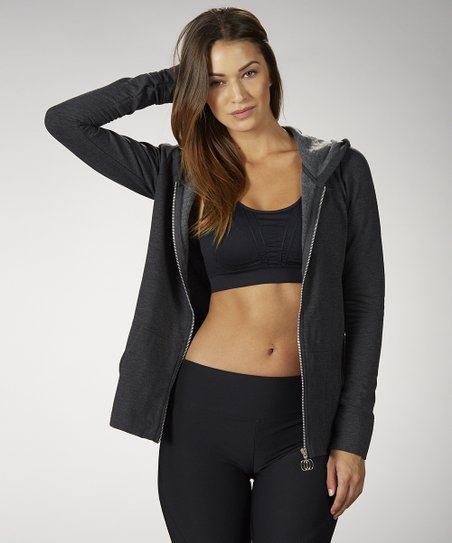 Heather Charcoal Fleece Zip-Up Hooded Jacket