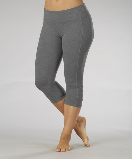 Gray Pleated Capri Leggings