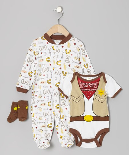 Brown Cowboy Footie Set