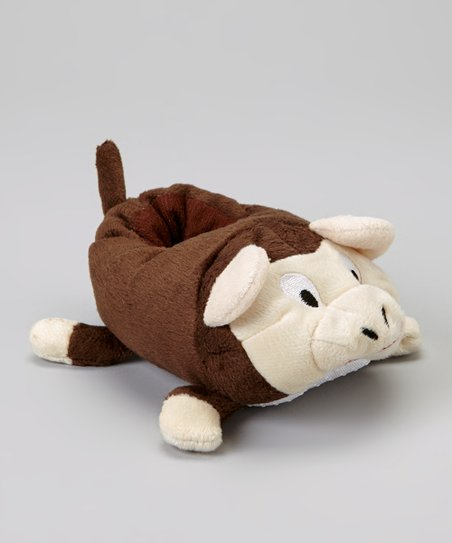 Brown Monkey Plush Slipper