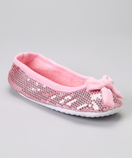 Light Pink Bow Sequin Plush Ballet Slipper