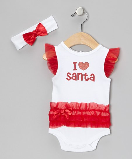 White 'I Love Santa' Ruffle Bodysuit & Bow Headband - Infant