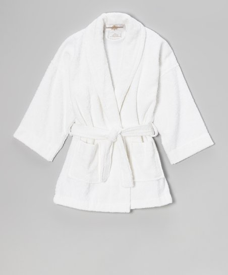White Terry Loop Bathrobe - Girls