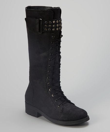 Black Distressed Lilith Boot