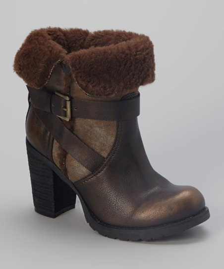 Bronze Faux Fur Meytal Ankle Boot