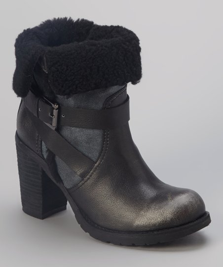 Pewter Faux Fur Meytal Ankle Boot