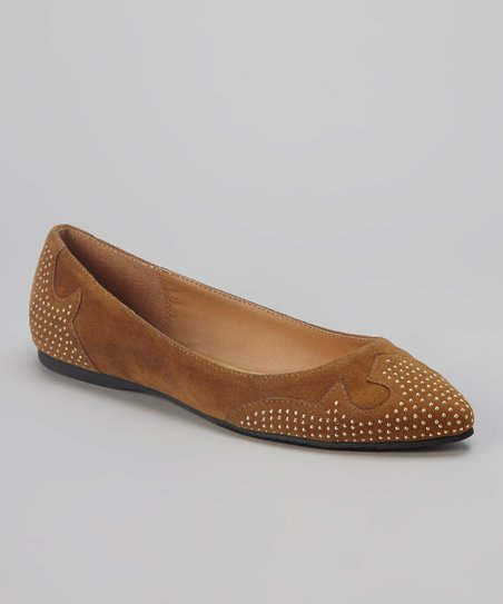 Tan & Gold Studded Roxy Flat