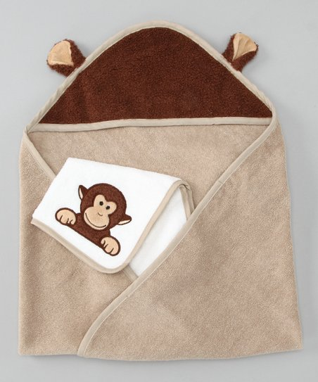 Tan Monkey Hooded Towel & Wash Cloth