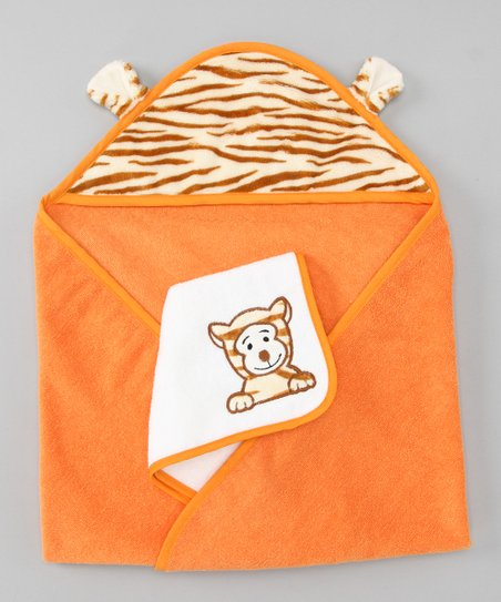 Orange Tiger Hooded Towel & Wash Cloth