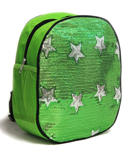 Bright Green Sequin Star Backpack