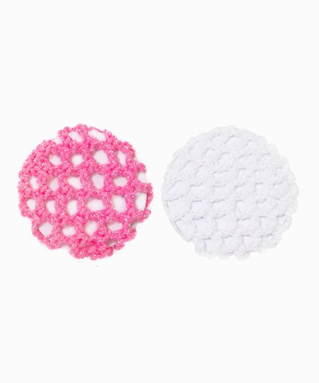 Pink & White Iridescent Bun Holder Set