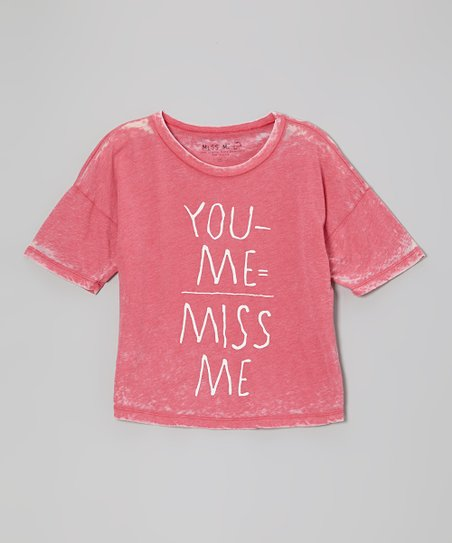 Red 'You Minus Me Equals Miss Me' Tee