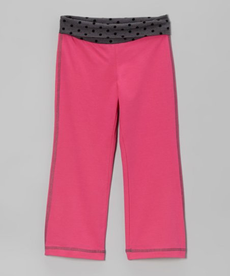 Fuchsia Polka Dot Rollover Yoga Pants - Girls