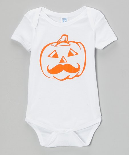 White Mustache Pumpkin Bodysuit - Infant