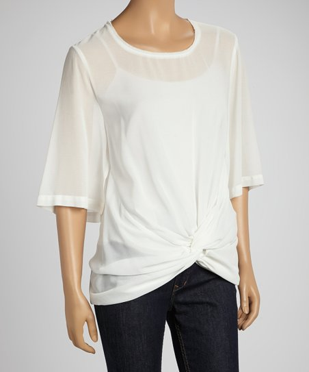 Ivory Sheer Draped Ruched Top