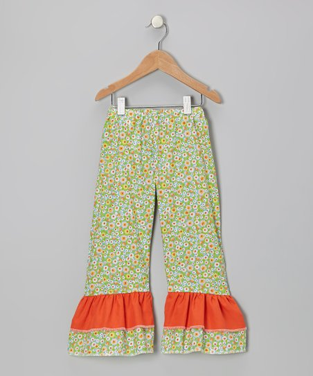 Green & Orange Posy Ruffle Pants - Toddler & Girls