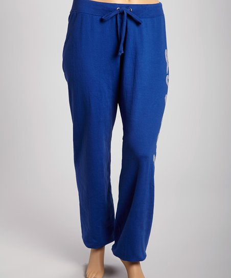 Deep Royal 'Love' Fleece Pants - Plus
