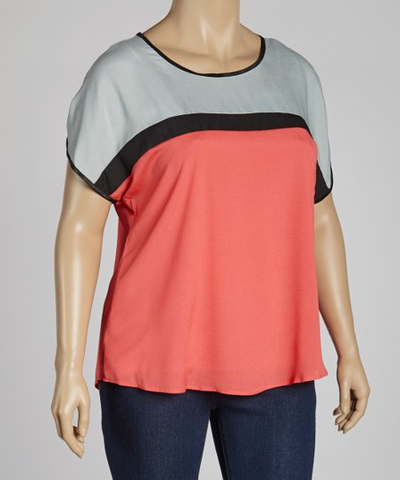 Silver Color Block Dolman Top - Plus