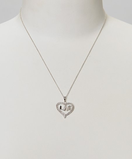 Diamond & Silver 'Love' Heart Pendant Necklace
