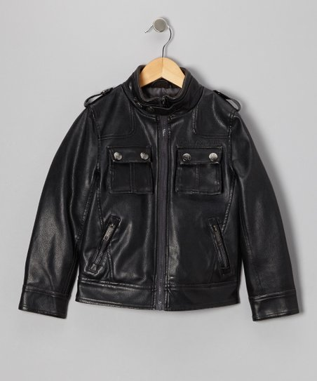 Charcoal Faux Leather Big Pockets Moto Jacket - Boys