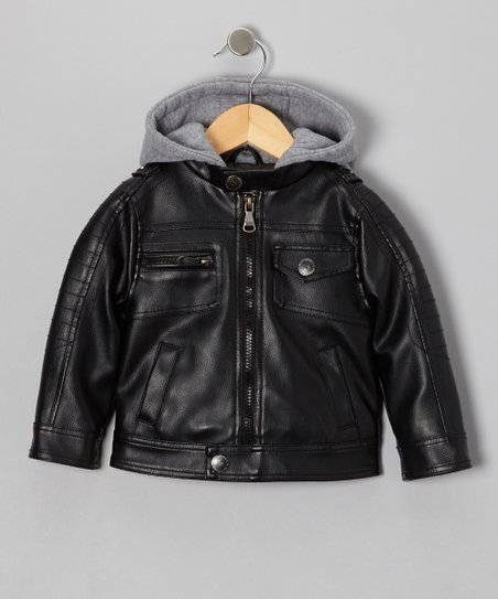 Black Faux Leather & Fleece Moto Hooded Jacket - Boys
